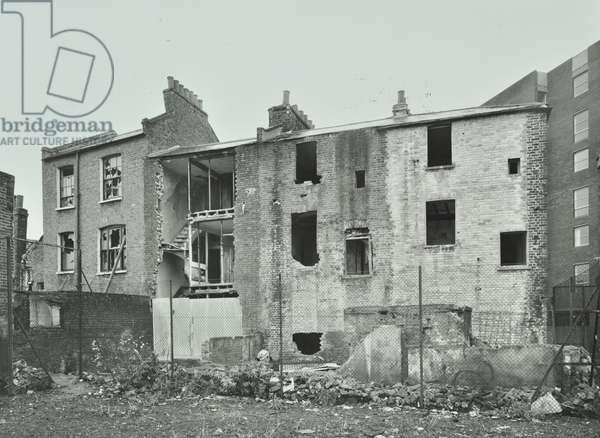 179 Battersea Church Road: rear elevation, derelict, London, 1974 (b/w photo)
