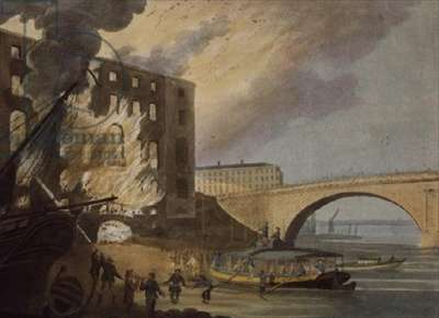 A View of Albion Mill On Fire, aquatint by J.W. Edy, 1791, (aquatint)