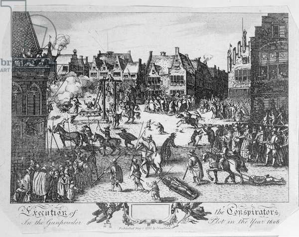 Execution of the Conspirators in the Gunpowder Plot in Old Palace Yard, Westminster, in 1606, 1795 (engraving)