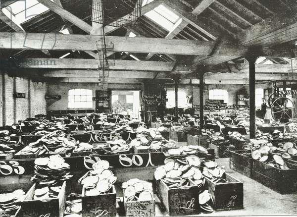 Bull Wharf, interior of the Shell Warehouse, London, 1890 (b/w photo)