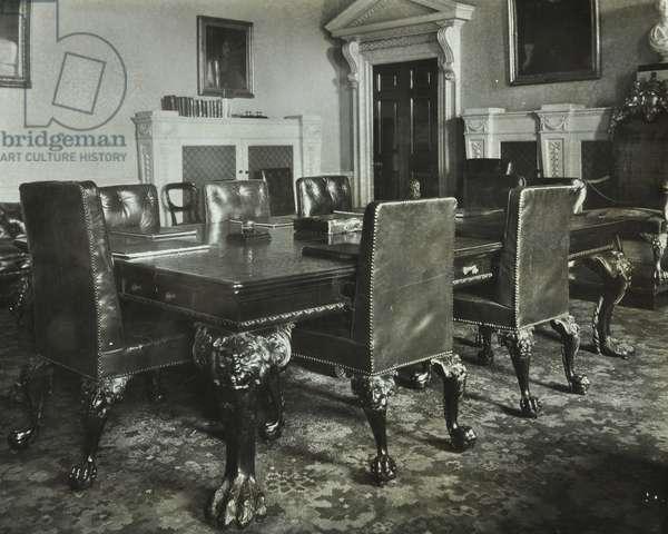 Treasury, Whitehall, Westminster LB: board room, 1927 (b/w photo)