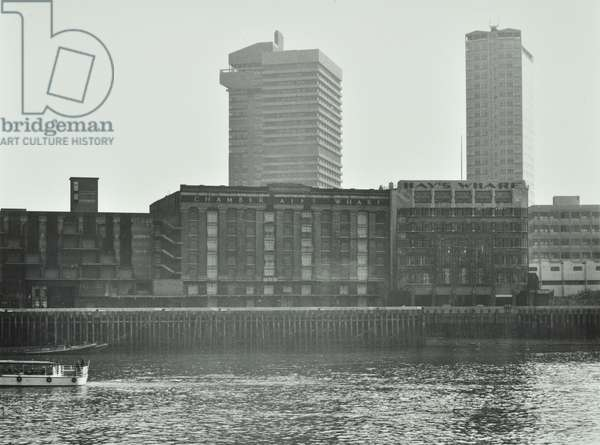 Chamberlain's Wharf / Hay's Wharf, Tooley Street: from river, London, 1973 (b/w photo)
