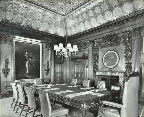 Admiralty, Whitehall, Westminster LB: former board room, 1934 (b/w photo)