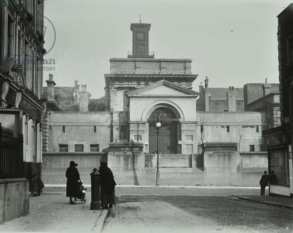 Pentonville Prison: from opposite, front elevation, 1920 (b/w photo)