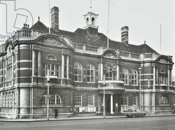 Battersea Town Hall, Lavender Hill, London, 1967 (b/w photo)