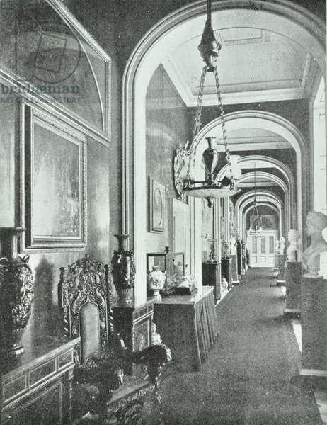 Buckingham Palace, Buckingham Palace, Westminster LB: Prince Consort's Corridor, 1900 (b/w photo)
