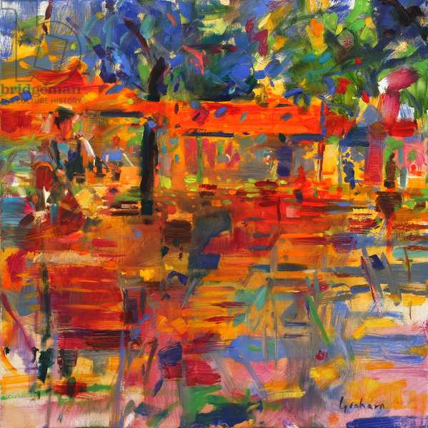 Falling Leaves, Paris (oil on canvas)