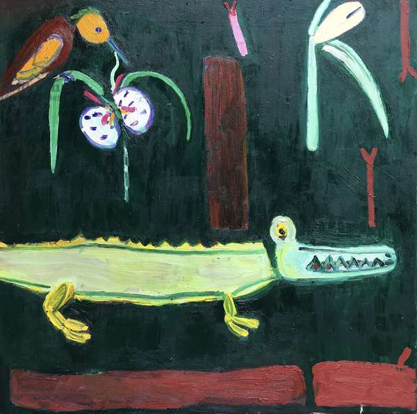 Rainforest with orchid and crocodile