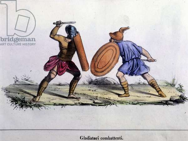 Gladiator fight. 19th century engraving.