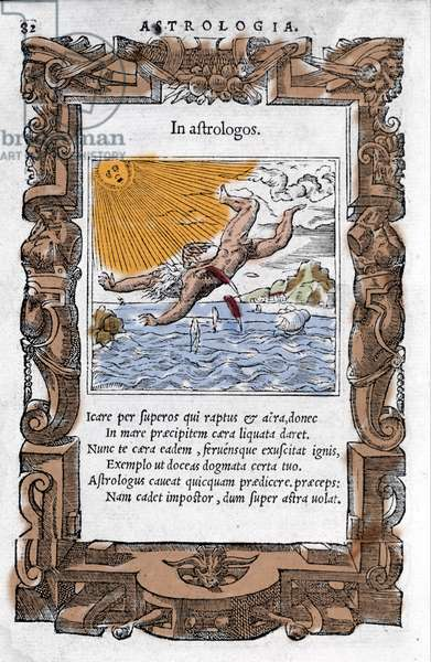 The Fall of Icarus - The Fall of Icarus. Colourful Xylography of the 16th century.