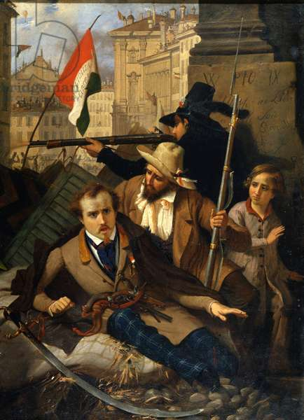 """Risorgimento: The Five Days of Milan (Cinque giornate di Milano) (18-22 March 1848): this is one of the first episodes of the Revolutions of 1848 (part of the First Italian War of Independence) that saw the rise of the Milanese population insurgent against the Austrian occupation of Josef Radetzky. """""""" Fighting in front of the Litta Palace in Milan"""""""" Painting by Baldassare Verazzi (1819-1886) 1848 Milan, Museo del Risorgimento"""