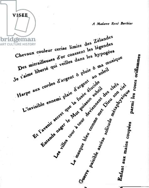 """Calligram by Guillaume Apollinaire (1880-1918): """""""" Visee"""""""""""