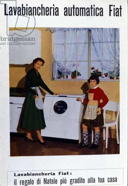 advertizing for the washing machine Fiat. Italy, 1953.