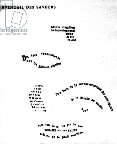"""Calligram by Guillaume Apollinaire (1880-1918) depicting a face: """"The eventance of flavours"""""""""""