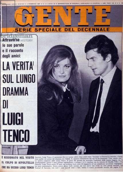 "Suicide by Luigi Tenco 27/01/1967: Cover of the magazine """" Gente"""" of 8/02/1967. Italian singer Luigi Tenco (1938-1967) and singer Dalida (1933-1987) at the Italian Song Festival."