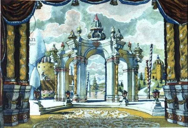 Piotr or Petr Ilyich Tchaikovsky (or Tchaikovsky or Ciajkovskij or Tchaikowsky, 1840 - 1893). Decor by Alexandre Benois (1870-1960).Museo della scala de Milan