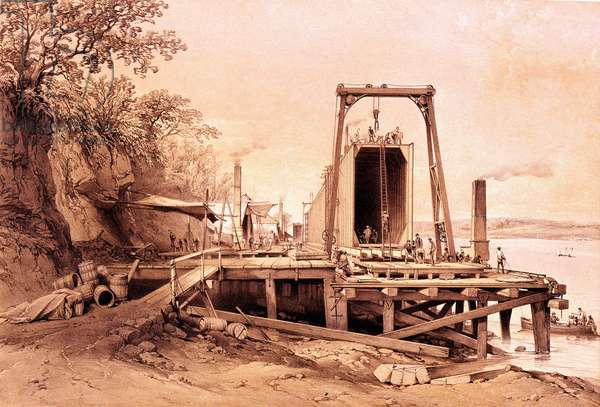 "Industrial revolution: installation of a prefabricated bridge. Engraving from ""Britannia and Conway Tubular Bridges"""", 1860"