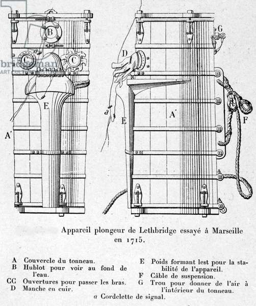 Lethbridge diver device tried in Marseille in 1715, used to recover on behalf of the Dutch East Indies, a cargo of gold coins and silver ingot from the boat Slot des Hooge sunk off Madeira.