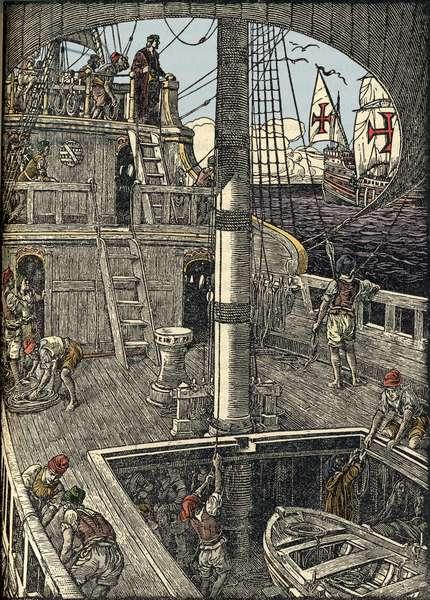 The navigator Christopher Columbus (1451-1506) aboard his caravel.