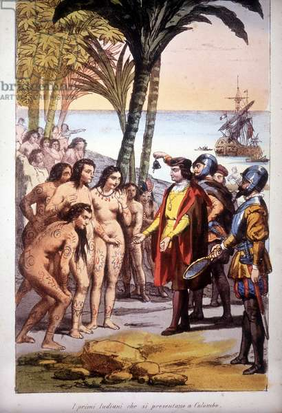 Christopher Columbus's landing in San Salvador (Bahamas) on 12/10/1492: the first Indians appeared before Columbus. Engraving 1850.