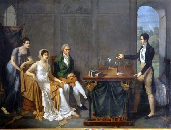 A scientist (probably Alessandro (Alexandre) Volta) doing a scientific experiment in front of the Melzi Deril family. Anonymous painting. Private collection.
