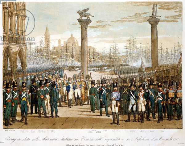 Napoleon I in Venice on 29 November 1807 in front of the Italian navy.Engraving of 1845