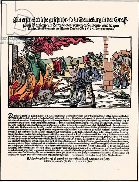 The burning of Three witches in Derneburg, Germany in 1555, woodcut
