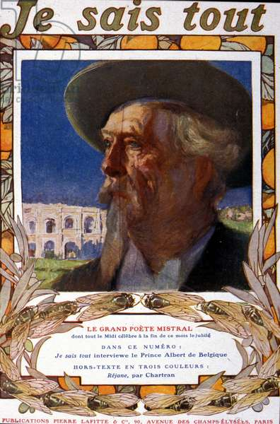 """Portrait of the French writer Frederic Mistral (1830 - 1914). Cover of """""""" I know everything"""""""", about 1910."""