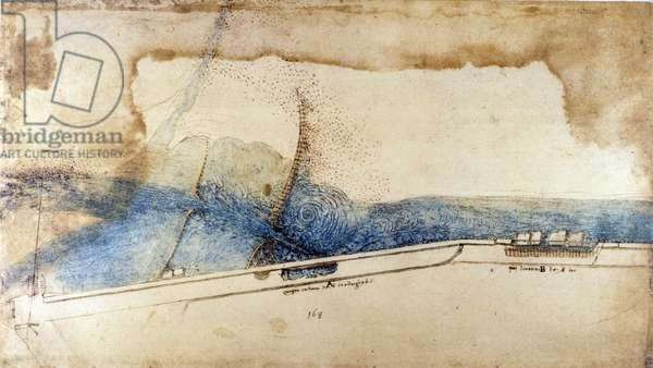 Study for the exploitation of water force in hydraulic machines (noria) by Leonard de Vinci (Leonardo da Vinci) (1452-1519). Drawing with pen and ink.