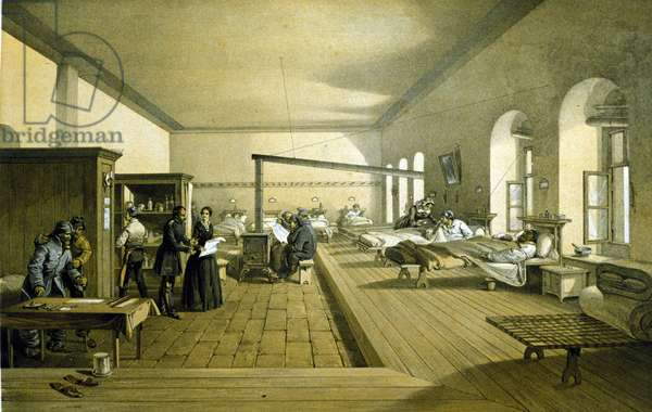 Florence Nightingale (1820 - 1910) in a hospital in Scutari in Turkey around 1855