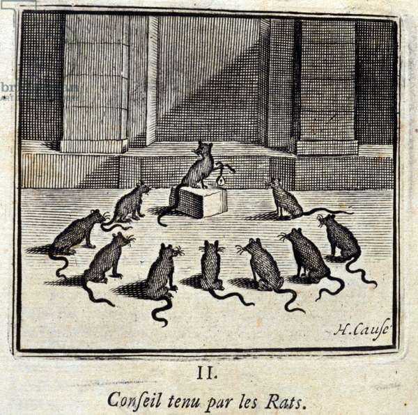 Board held by the Rats. Fables by Jean de La Fontaine (1621-95). Illustration by François Chauveau (1613-1676). Edition of 1728.