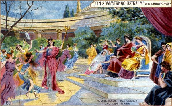 """The dance of the elves in the royal palace of Oberon and Titania. """""""" Dream of a Summer Night"""""""" by William Shakespeare (1595). German chromolithography of 1904."""