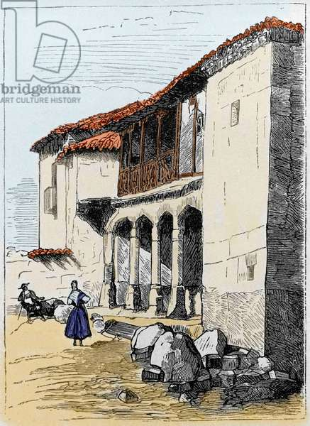 The house of Sante de Valcuebo in Salamanca where Christopher Columbus held its first conference. Engraving of the 19th century