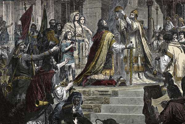 The Coronation of Charlemagne - Coronation of Charlemagne (742 - 814) in 800 by Pope Leon III