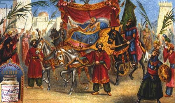 The triumphant entrance of Saladin (1138-1193) (Salah al Din Yusuf al-Ayyubi (al Ayyubi), the vizir, into the city of Jerusalem in 1187. Liebig chromolithography of the 19th century.