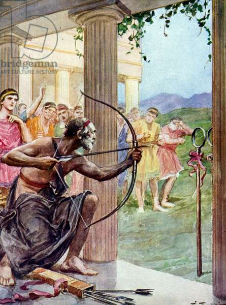 Illustration by F. Fabbri for Homer's Odyssee. Italian edition of 1939.Episode of hymn XXI relating the archery trial between Ulysses and the pretendants.