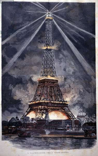 Illumination of the Eiffel Tower during the World Exposition of 1889.