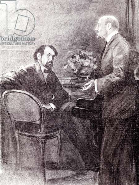 "Portrait of Claude Debussy (1862 - 1918) and Gabriele D'Annunzio (1863 - 1938) discussing ""The martyrdom of Saint Sebastian""""."