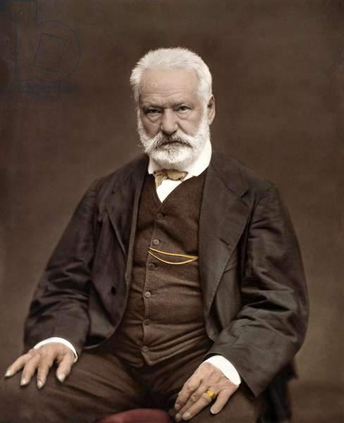 Portrait of Victor Hugo (1802-1885), French writer and poet, Colorisation on a photograph by Etienne Carjat (1828-1906) - Victor Hugo (1802-1885). English writer and poet. ca. 1870. Coloured photograph.