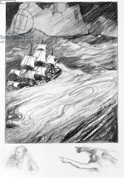 """Edgar Allan Poe: """"A descent into the Maelstrom"""", 1841. Illustration by Charles Fouqueray (1869-1956)."""