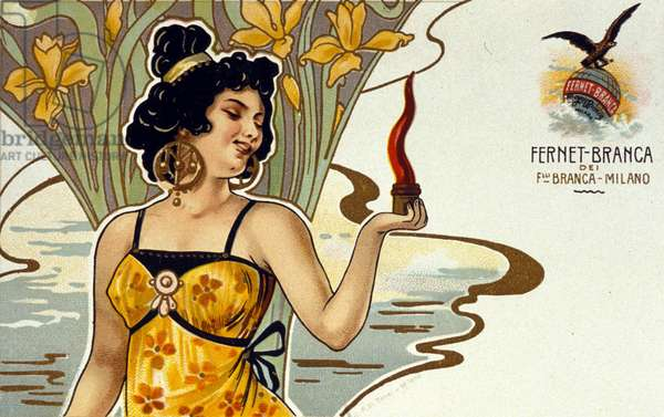 Advertising for Amaro Fernet - Branca. Chromolithography. Italy. Early 20th century.