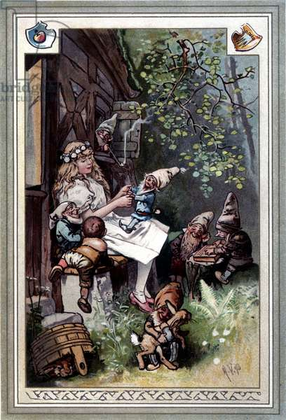 Kinder und hausmarchen (Tale of childhood and home) (1812): the fables of the Grimm brothers. Cover of Hermann Vogel 1894 representing Snow White and the Seven Dwarves.