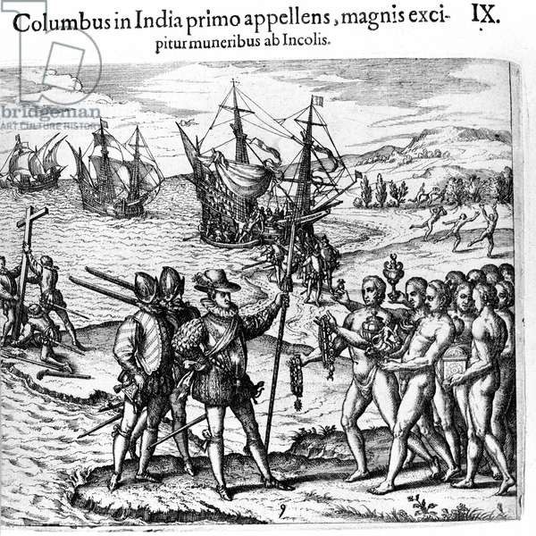 """Christopher Columbus arrives in the West Indies. Engraving by Theodore de Bry in """""""" Admirante Narratio - Americae"""""""", 1655"""