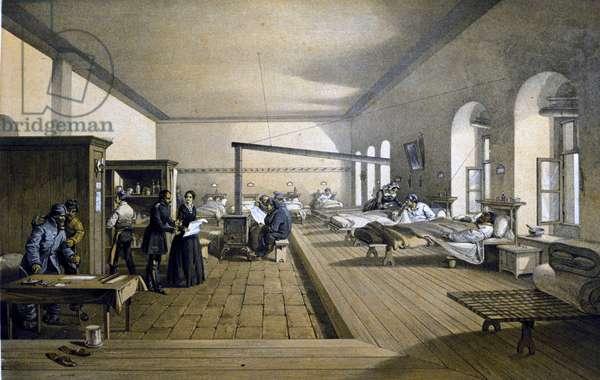 Florence Nightingale (1820 - 1910) at Scutari Hospital in Turkey around 1855