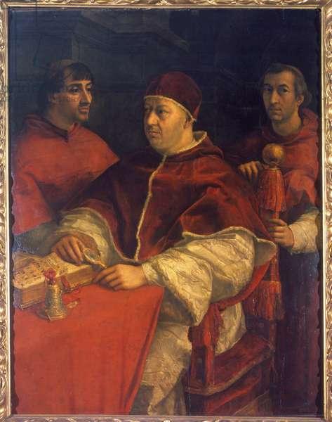 Portrait of Pope Leo X (1475-1521), son of Laurent de Medici (1449 - 1492) (Laurent the Magnificent: Lorenzo il Magnifico) surrounded by Cardinals Luigi de 'Rossi and Giulio de' Medici. Painting by Raphael (Raffaello Sanzio 1483 - 1520). 16th century. Uffizi Museum, Florence.