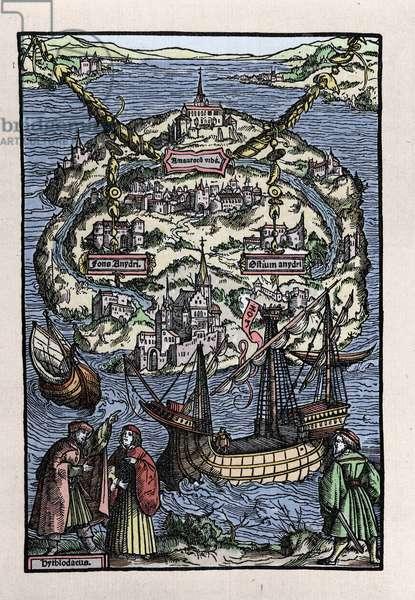 "View of the island of Utopia (Utopia) from the book of Thomas More (1478-1535), """" De optmo republicae statu deque nova insula Utopia"". Engraved by Johann Froben. 1518."