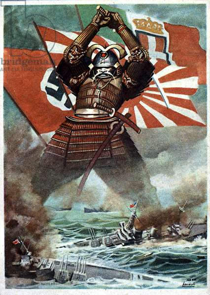 Second World War (1939-1945): Japanese samurai distruding the American fleet during the Battle of Pearl Harbor (7/12/1941). Japanese propaganda poster celebrating the Alliance of Axis Powers (Germany, Italy and Japan), 1941