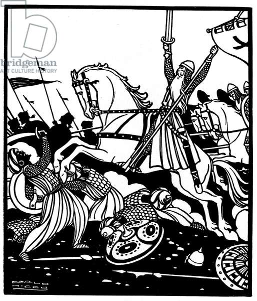 """Battle against the Moors. Illustration of """""""" Le Cid"""""""" poem by Guillen de Castro (1569-1631) (1618) which inspired the piece of the same name by Pierre Corneille, by Carlo Nicco (1883-1973)"""
