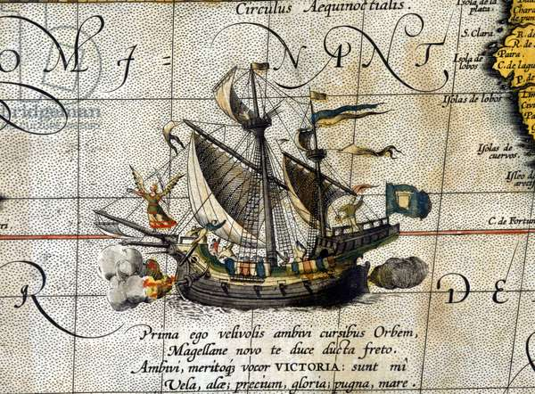 "Magellan's boat """" Victoria"""" which travelled through the Pacific Ocean represented in the Dutch atlas of Abrahm Ortelius (1580)."