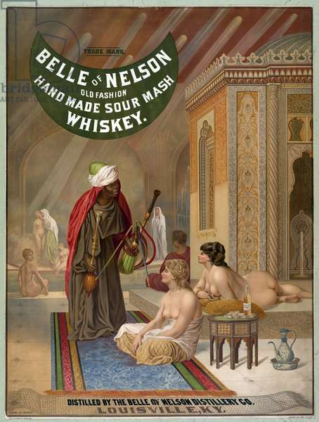 """Eunuchs and slaves in a harem. Illustration from a painting by Leon Gerome. Whisky advertisement """""""" Belle of Nelson"""""""", 1883. Chromolithography."""